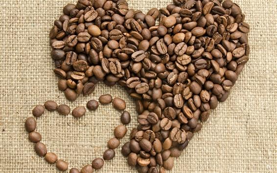 Wallpaper Coffee, love, heart, beans