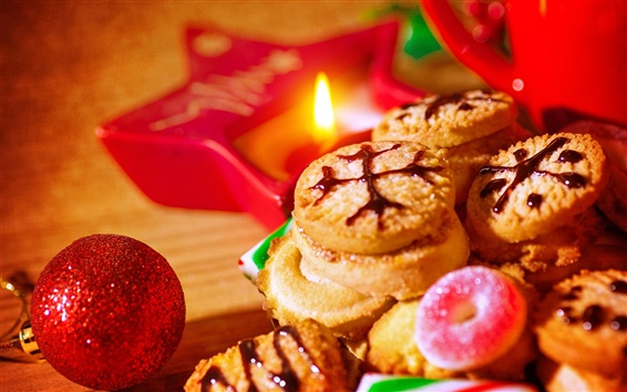 Wallpaper Cookies, sweets, lights, Christmas, New Year