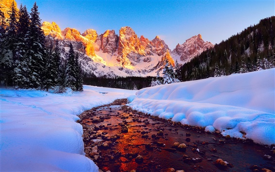 Wallpaper Dolomites, mountains, peaks, sky, forest, river, snow, winter