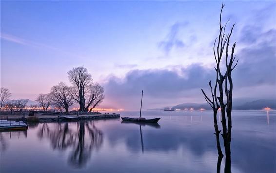 Fond d'écran Tôt le matin, l'aube, les lumières, lac, réflexion, bateau, arbres, brouillard