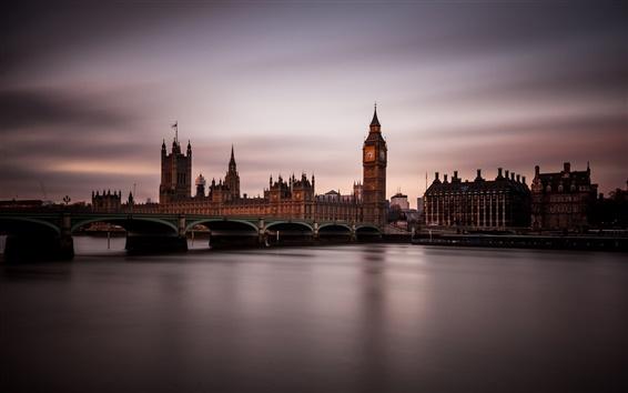 Fondos de pantalla Inglaterra, Londres, noche, crepúsculo, ciudad, puente, casa