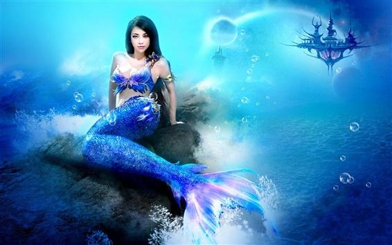 Wallpaper Fantasy girl, mermaid, sea, underwater