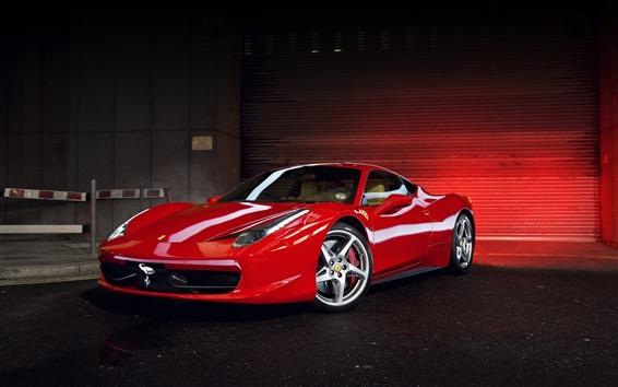 Fond d'écran Ferrari 458 Italia, vue de côté de supercar rouge