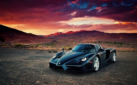 Wallpaper Ferrari Enzo supercar, desert, sunset, clouds