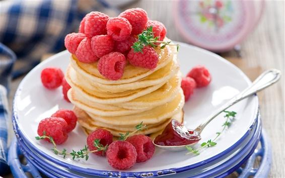 Papéis de Parede Alimentos, panquecas, frutas, framboesa vermelha, sobremesa, frutas