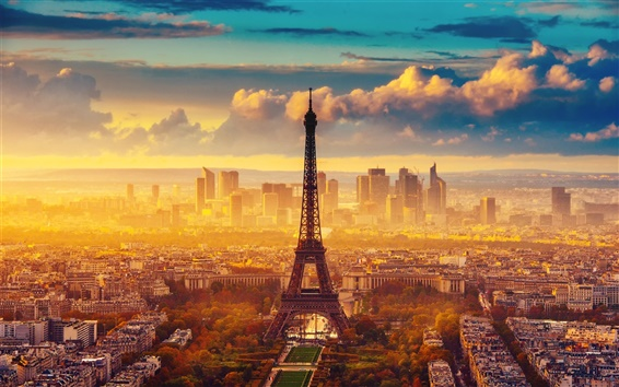 Wallpaper France, Paris, the Eiffel Tower, autumn, sky, clouds, morning