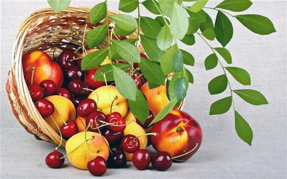 Wallpaper Fruits, peaches, cherries, basket, leaves