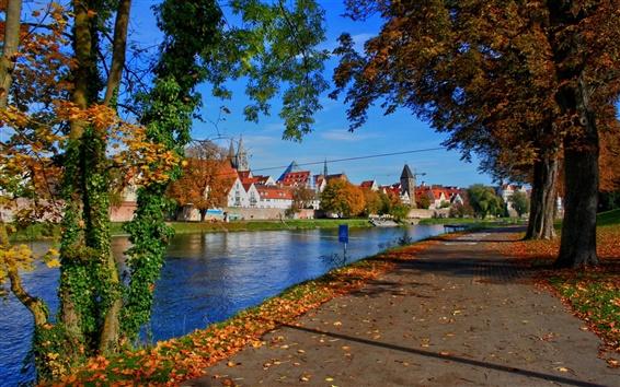 Wallpaper Germany, Bavaria, city, houses, river, road, trees, autumn