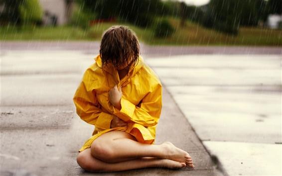 Wallpaper Girl at rainy street