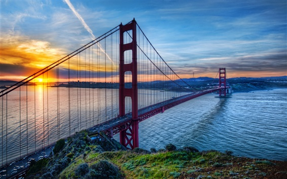 Wallpaper Golden Gate Bridge, San Francisco, California, USA, sunset