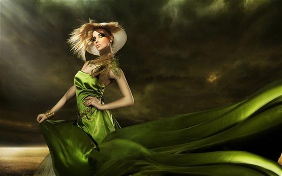 壁紙 緑のドレス、ファッショナブルな女の子