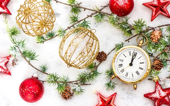 Wallpaper Happy New Year, Merry Christmas, ornaments, balls, winter, snow