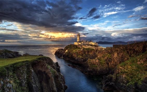 Wallpaper Ireland, lighthouse, ocean, seascape, sunset, clouds