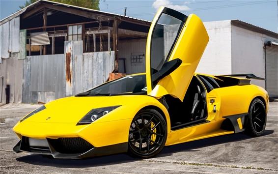 Wallpaper Lamborghini Murcielago yellow supercar