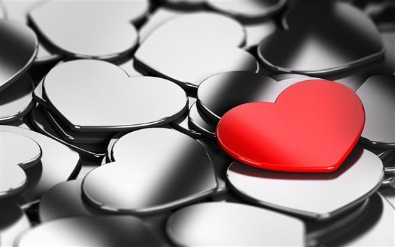 Fond d'écran Coeurs d'amour, un seul rouge