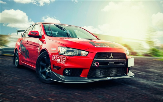 Wallpaper Mitsubishi Lancer Evolution X, red supercar