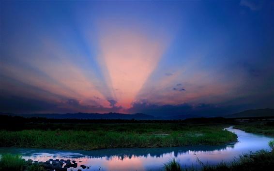 Fond d'écran Paysage du matin, nature, rivière, montagnes, bleu