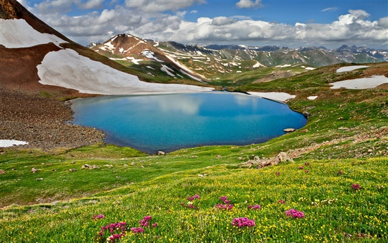 Wallpaper Nature landscape, spring, sky, clouds, mountains, lake, grass