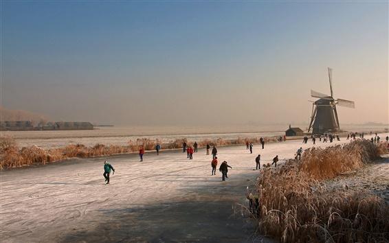 Wallpaper Netherlands, winter, mill, ice river