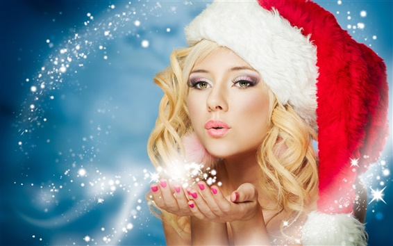 Wallpaper New Year, winter, snow maiden, beautiful fairy girl