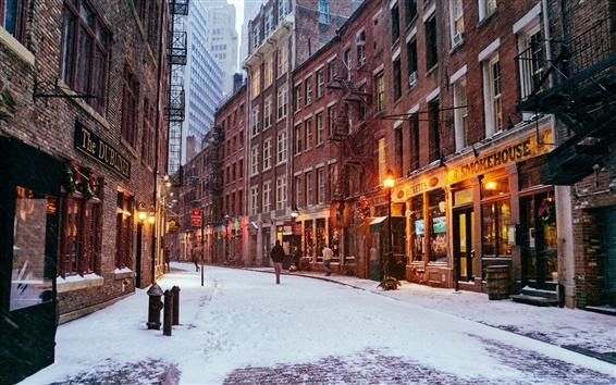 Wallpaper New York City, Manhattan, USA, city night, winter, lights