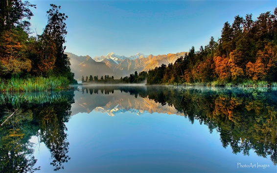 Wallpaper New Zealand, Westland National Park, Fox Glacier, lake, mountains, forest