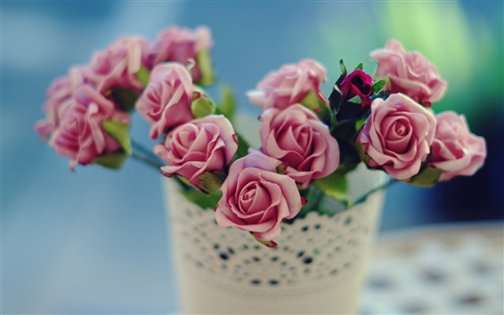 Wallpaper Pink rose, vase, flowers, blur background