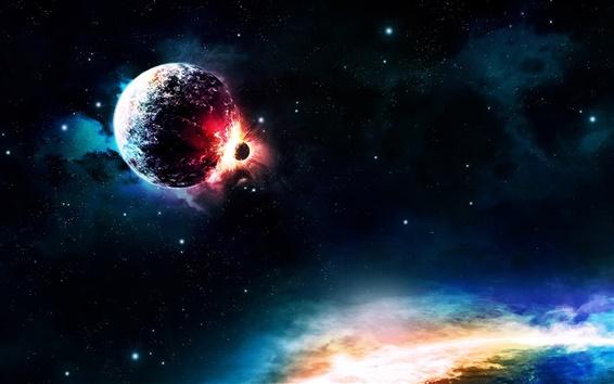 Wallpaper Planets collision, colors, light
