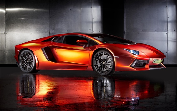 Wallpaper Print Tech Lamborghini Aventador orange supercar