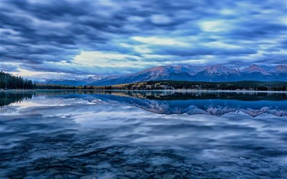 Wallpaper Pyramid Lake, Jasper National Park, Alberta, Canada, mountains, sky, blue