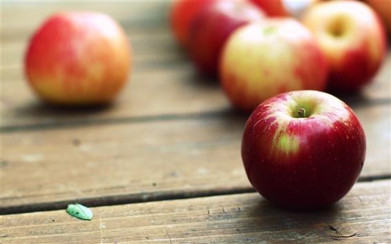 Fond d'écran Pommes rouges, table en bois