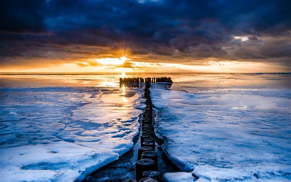 Wallpaper Sea, winter, ice, sunset, horizon