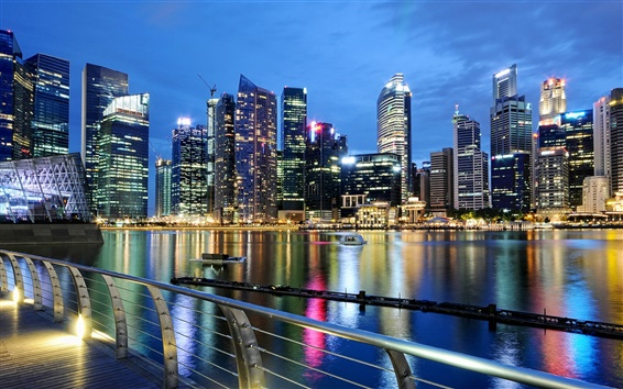 Wallpaper Singapore, city, evening, dusk, lights, buildings, water