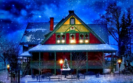 Wallpaper Snow winter, house, New Year, Christmas, lights, trees, evening