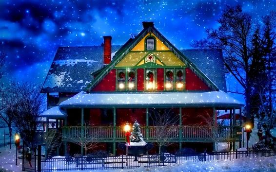 Fond d'écran Hiver de neige, maison, Nouvel An, Noël, lumières, arbres, soirée