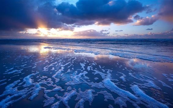 Wallpaper Sunset blue ocean, waves, foam