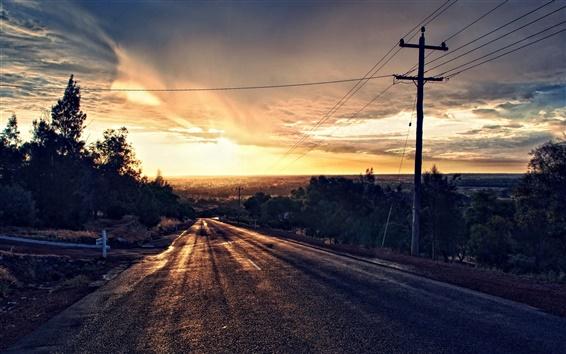 Wallpaper Sunset road landscape