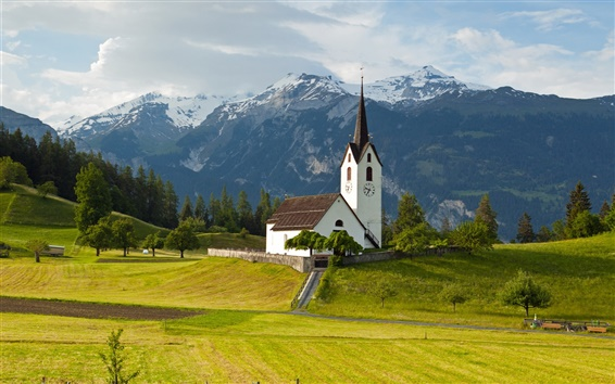 Wallpaper Switzerland, Alps, mountains, grass, trees, church, sky, clouds