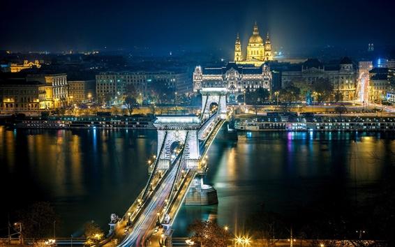 Wallpaper Szechenyi Chain Bridge, Budapest, Hungary, the Danube river, city night, lights