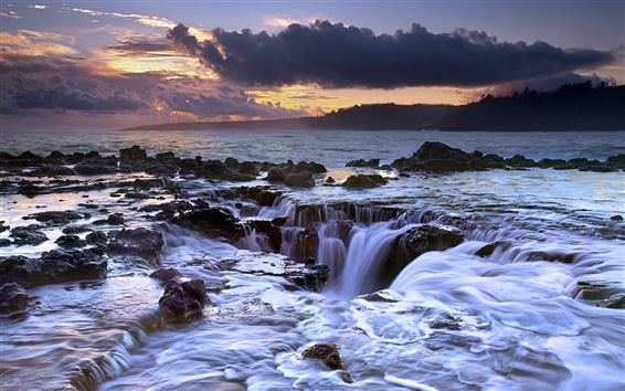 Wallpaper The ocean flowing back, sunset, Hawaii