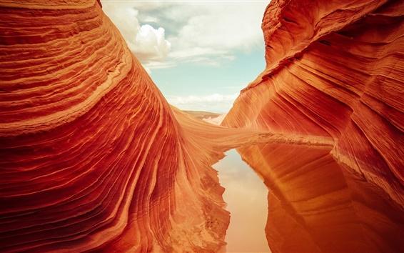 Обои США, Аризона, Койот Батс Национальный парк Vermilion скалы, скалы, вода