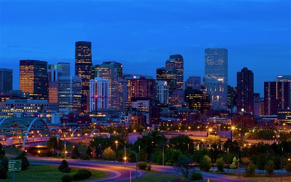 Wallpaper USA, Denver, Colorado, buildings, skyline, night, lights