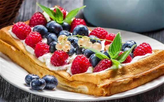 Fondos de pantalla Waffles, frutas, alimentos, crema, postre, frambuesas rojas, arándanos
