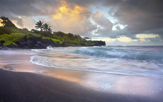 Обои Волны сбой, черный песчаный пляж, Гавайи