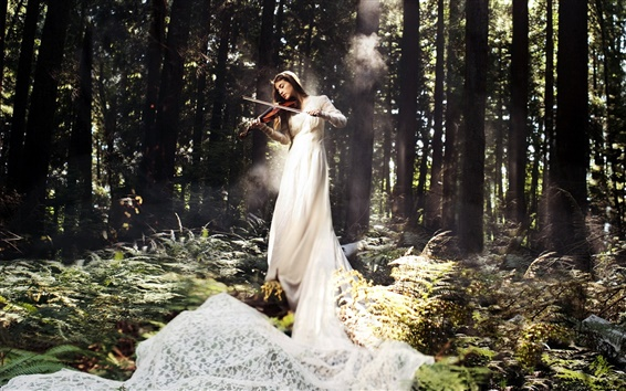 Wallpaper White dress music girl, play violin in the forest