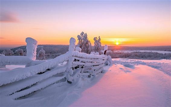 Wallpaper Winter landscape, wood fence, white snow, sunrise