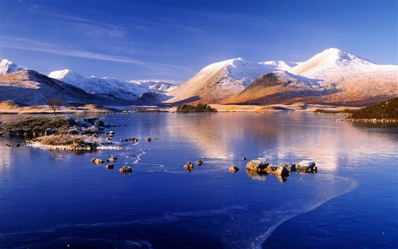 Wallpaper Winter, mountain, lake, snow, ice, blue sky