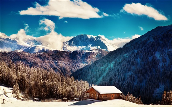 Wallpaper Winter, mountains, trees, blue sky, clouds, wood house