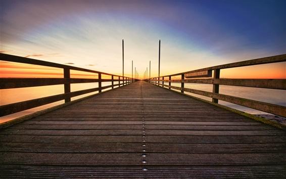 Wallpaper Wooden bridge, sunrise, sea