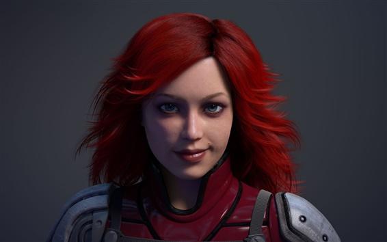 Papéis de Parede 3D fantasia cabelo vermelho menina
